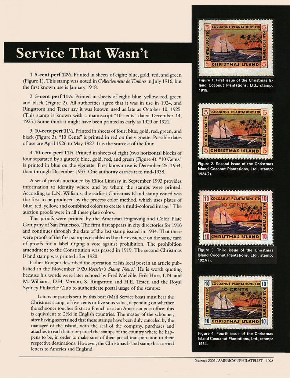 The Christmas Island (Pacific) Local Stamps and Postal History